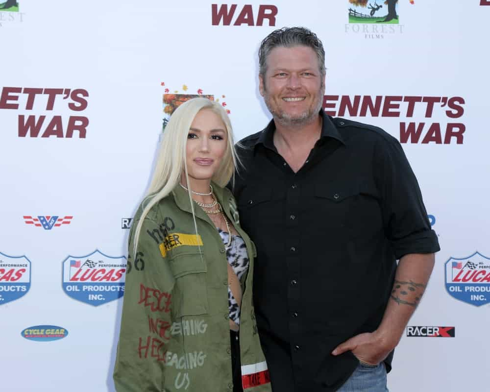 "Gwen Stefani and Blake Shelton were at the ""Bennett's War"" Los Angeles Premiere at the Warner Brothers Studios last August 13, 2019 in Burbank, CA. Stefani's long straight blond hair was center-parted and silky."