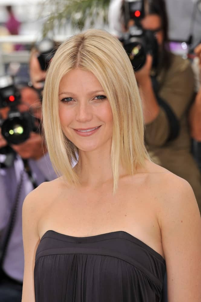 "Gwyneth Paltrow wore a loose long bob paired with a black tube dress at the photocall for her new movie ""Two Lovers"" held last May 20, 2008."