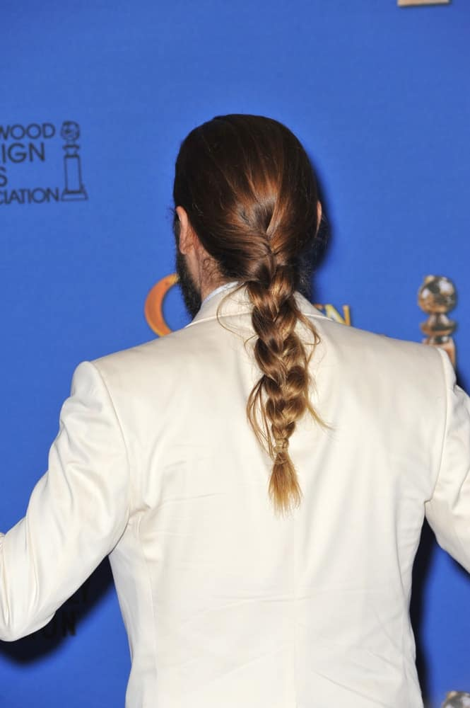 Jared Leto showing off his braided ponytail at the 72nd Annual Golden Globe Awards at the Beverly Hilton Hotel, Beverly Hills.