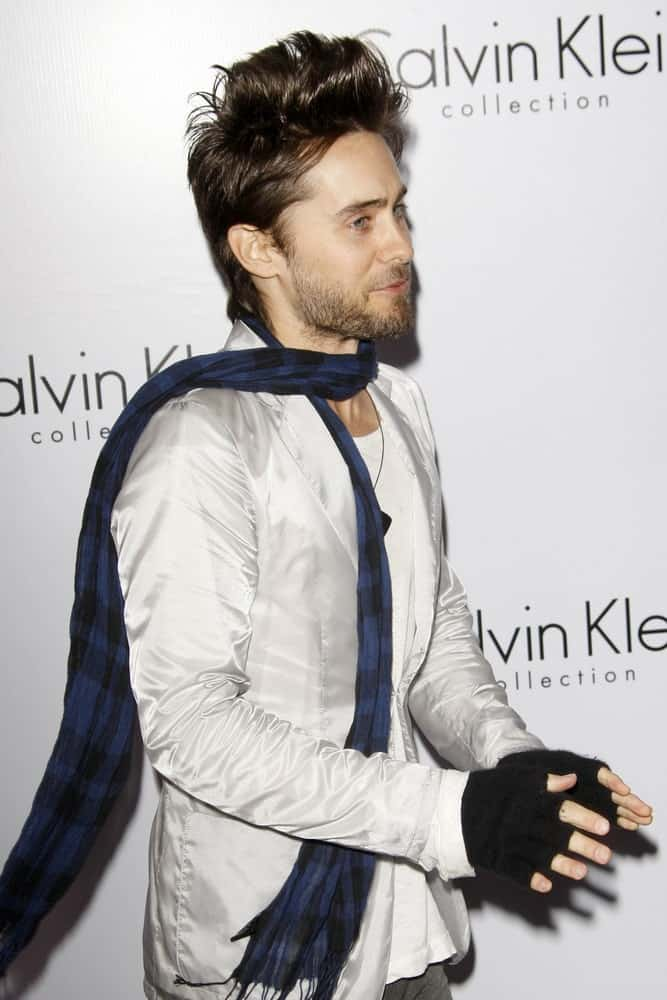 Jared Leto pulled off a long top quiff at the Calvin Klein collection and LOS ANGELES NOMADIC DIVISION Present a Celebration of L.A. ARTS MONTH on January 28, 2010.