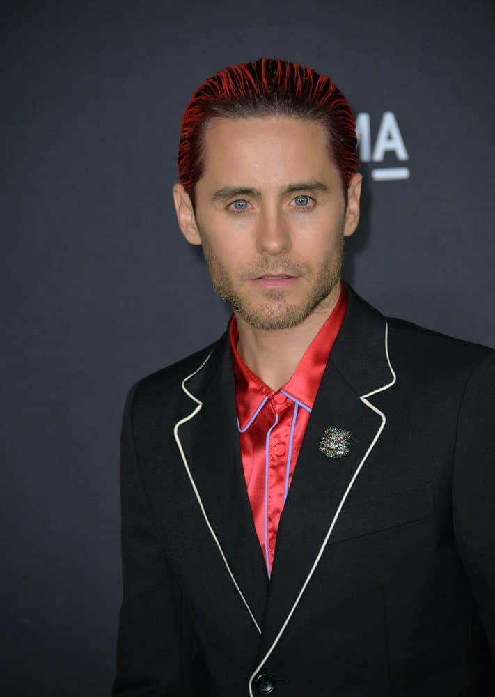 Jared Leto dyed his slicked locks in a vibrant red hue during the 2015 LACMA Art+Film Gala at the Los Angeles County Museum of Art on November 7, 2015.