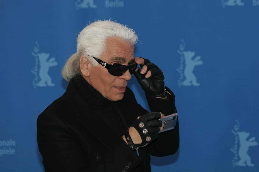 Designer Karl Lagerfeld attends a press conference to promote the movie 'Lagerfeld Confidential' during the 57th Berlin Film Festival on February 10, 2007 in Berlin, Germany.