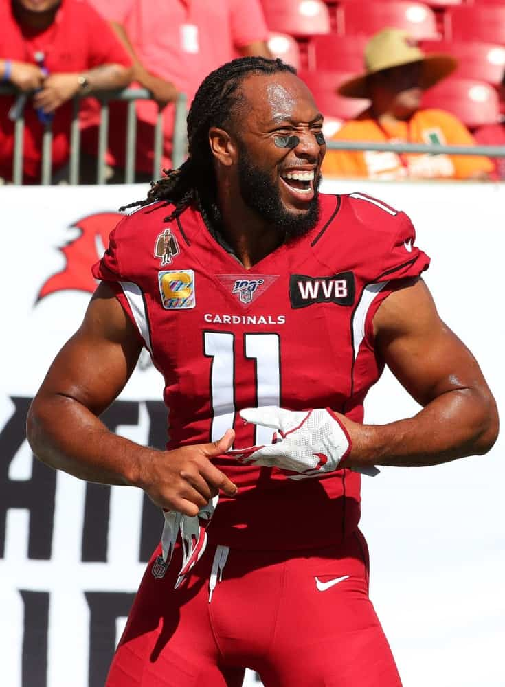 Arizona Cardinals wide receiver Larry Fitzgerald (11) smiles before an NFL game against the Tampa Bay Buccaneers at Raymond James Stadium.