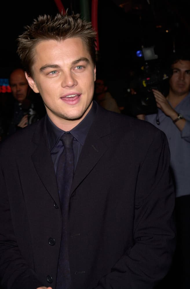 """Leonardo DiCaprio attended the Hollywood premiere of his new movie """"The Beach"""" in 2000 with a spiky hairdo."""