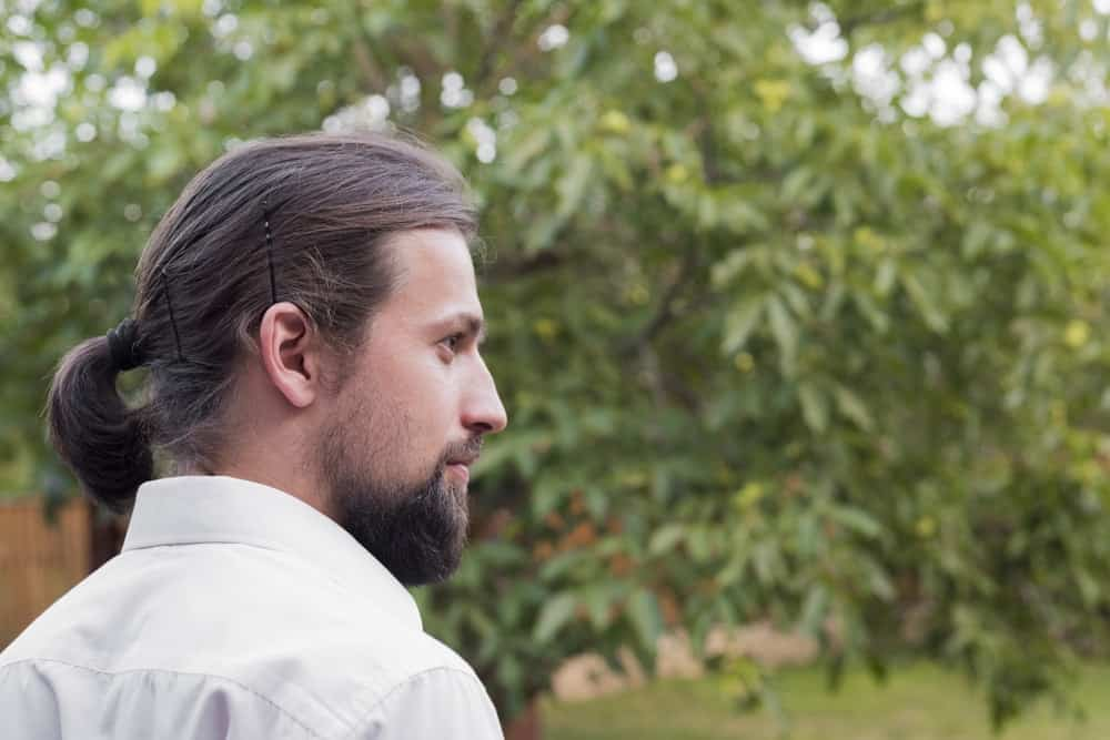 Side profile of a man with ponytail, hairpins, and beard.