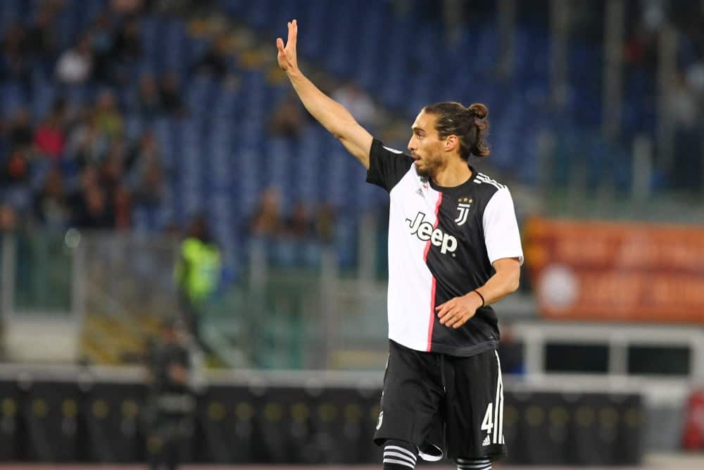Martin Caceres during football match serie A League 2018/2019 between AS Roma vs Juventus at the Olimpic Stadium in Rome.