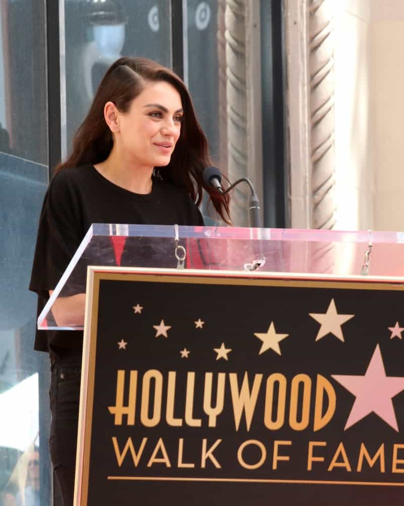 Mila Kunis spoke at the Seth MacFarlane Star Ceremony on the Hollywood Walk of Fame last April 23, 2019 in Los Angeles. She had a side -swept medium-length hair with a slight tousle and soft waves.