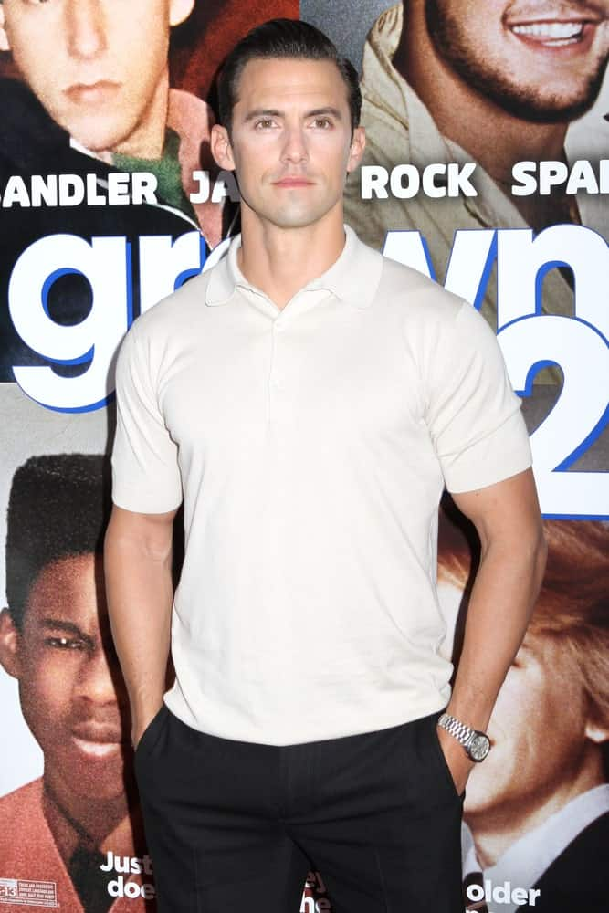 """Milo Ventimiglia looking all fresh and clean in a neat slicked back hairstyle worn at the premiere of """"Grown Ups 2"""" on June 10, 2013."""