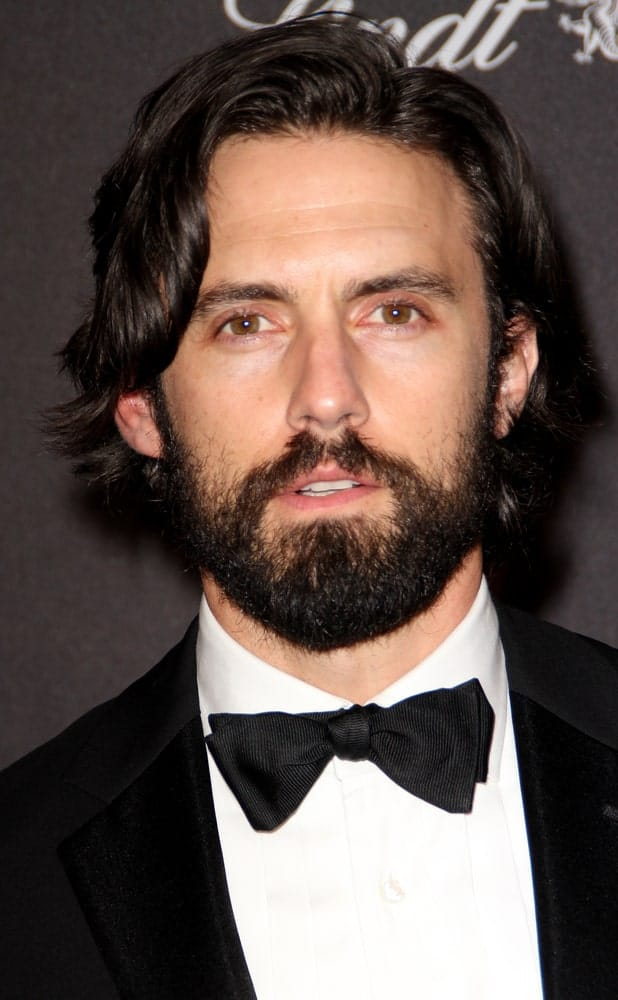 The actor appeared with a wavy side-swept hairstyle paired with his full beard at the Weinstein Company and Netflix 2016 Golden Globes After Party on January 10, 2016.