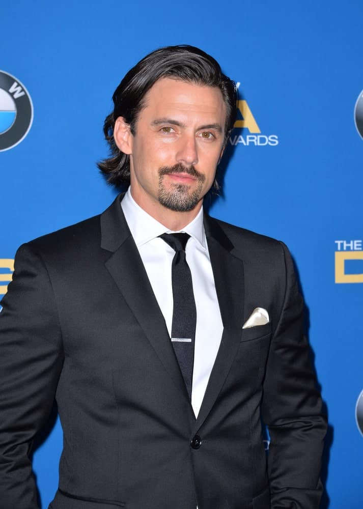 Milo Ventimiglia showcased a classic style featuring a deep side-parted hairstyle paired with a goatee beard. This was taken at the 69th Annual Directors Guild of America Awards (DGA Awards) held on February 4, 2017.