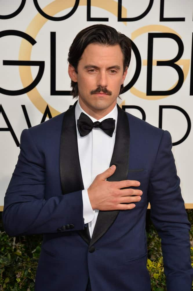 The actor looked dashing with his usual side-swept hair and a mustache completed with his navy blue suit. This look was worn during the 74th Golden Globe Awards held on January 8, 2017.