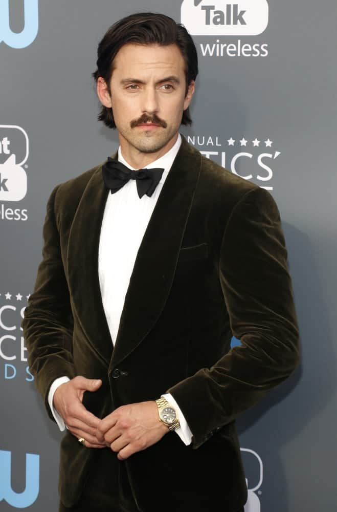 The actor looked sophisticated in a velvet black suit complemented with his side-swept hairstyle and a dad mustache. This look was worn at the 23rd Annual Critics' Choice Awards held at the Barker Hangar in Santa Monica, USA on January 11, 2018.