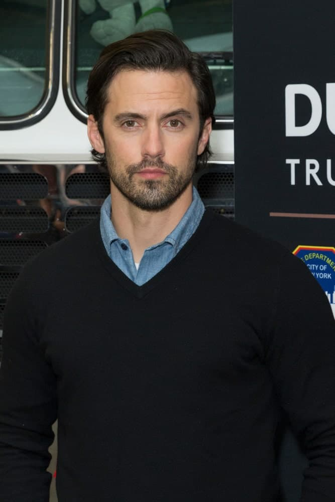 On March 8, 2018, Milo Ventimiglia teams up with Duracell and the FDNY for Fire Safety at FDNY Engine 8/Ladder 2 sporting his side-swept hair and a stubble beard.