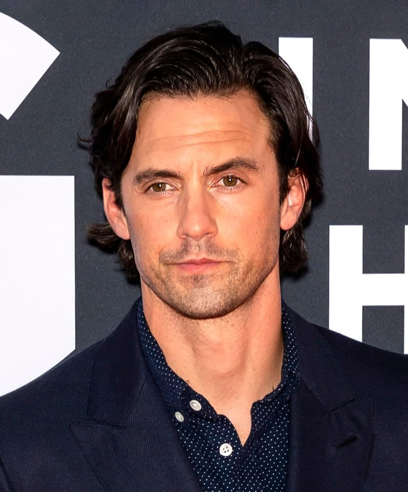 Milo Ventimiglia parted his wavy medium-length locks at the premiere Of