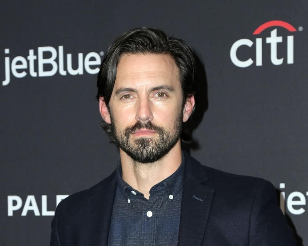 Milo Ventimiglia pulled off his signature side-parted waves with a smooth transition in his stubble beard at the PaleyFest -