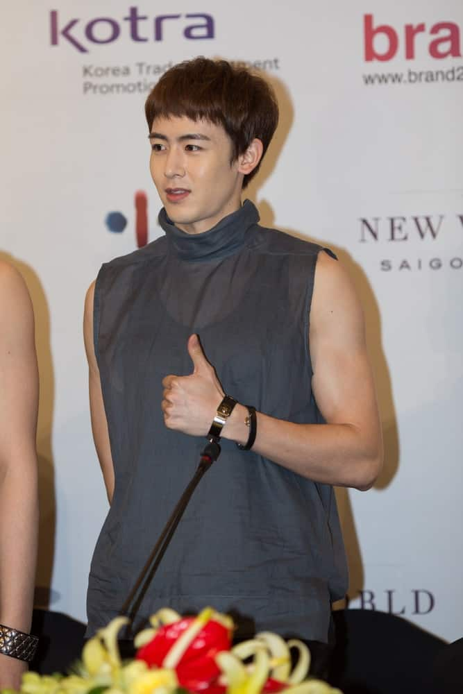 Nickhun of the Korean boyband 2PM poses at the press conference before the Human Culture Equilibrium Concert Korea Festival in Vietnam on March 22, 2014.