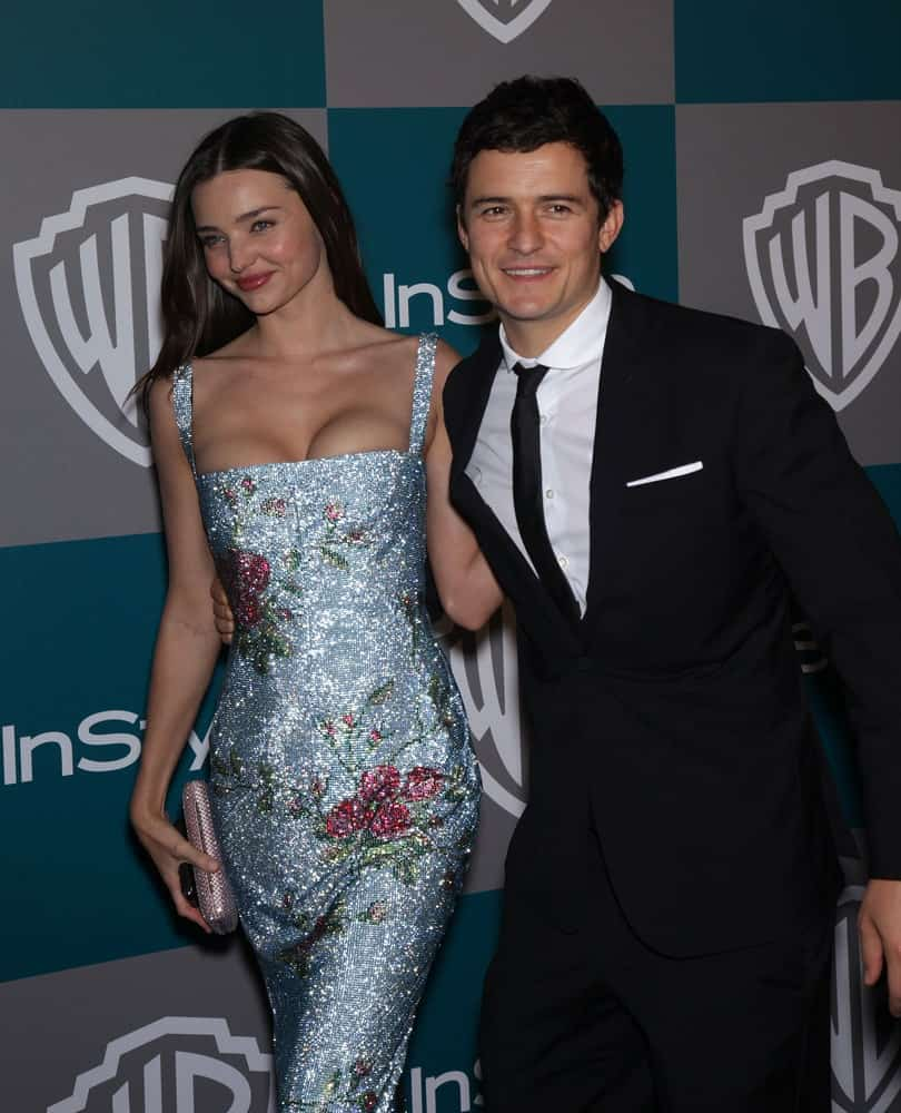 Miranda Kerr & Orlando Bloom were at the Golden Globes 2012 After Party: WB / In Style on January 15, 2012 in Beverly Hills, CA. Bloom;s clean-shaven face was topped off with a short and curly crew cut.