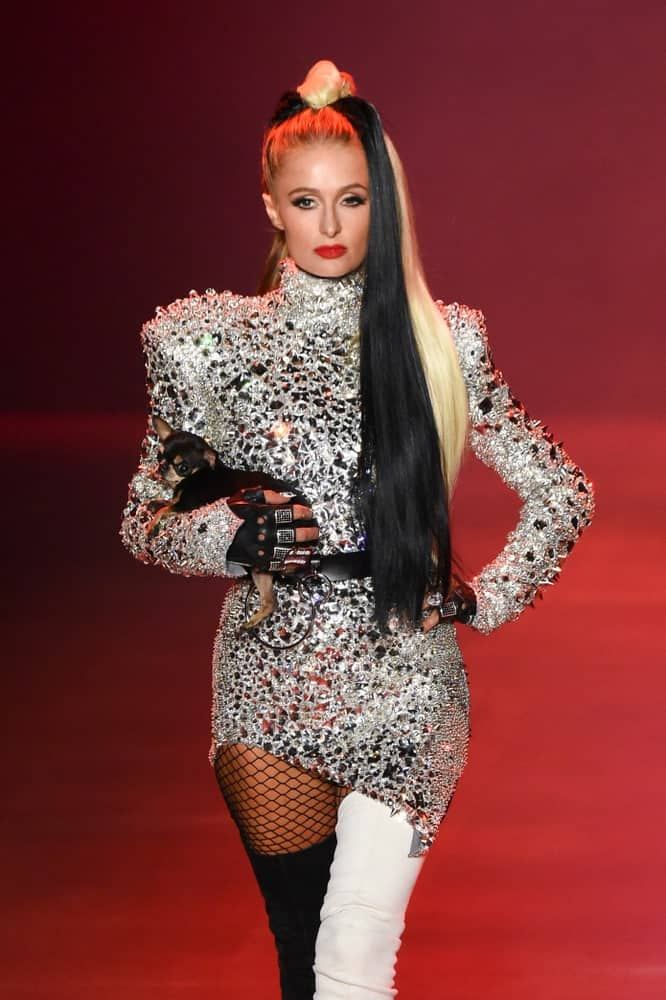 Paris Hilton exhibited her long two-toned tresses as she walked the runway at the Disney Villains x The Blonds fashion show on September 7, 2018. She styled it in a sleek high ponytail that's truly eye-catching.