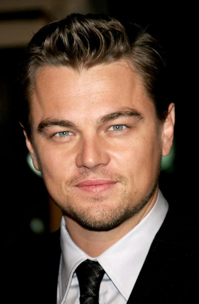 Leonardo Dicaprio at the premier of 'Blood Diamond' in Los Angeles, California. He was seen sporting a bold quiff hairstyle.