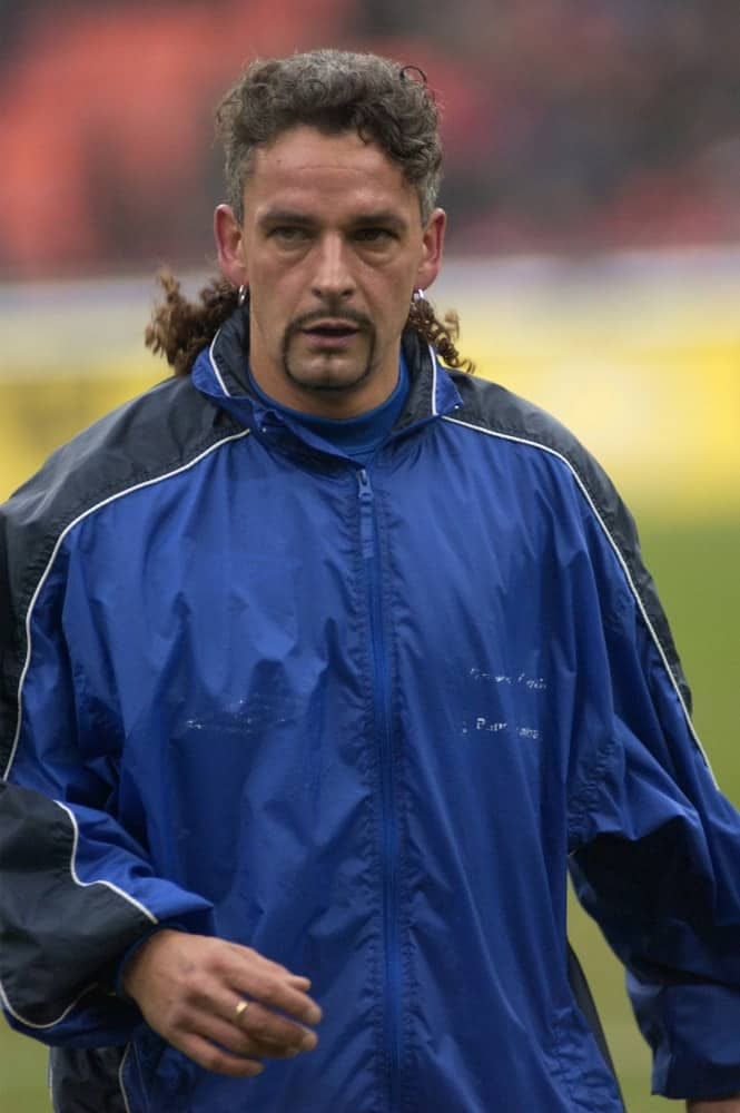 Roberto Baggio before a soccer match in Milan, Italy.
