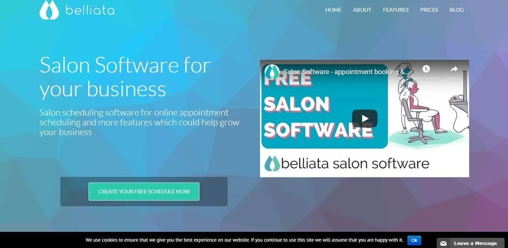 Screenshot of the site homepage for Belliata scheduling software.
