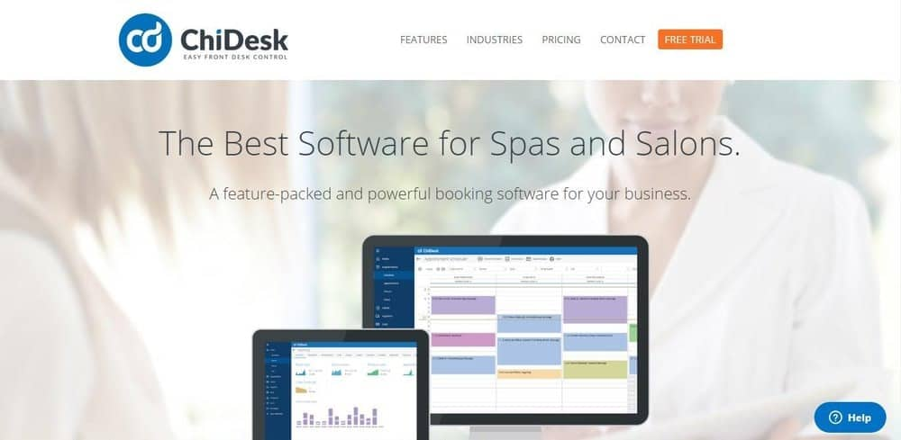 Screenshot of the site homepage for ChiDesk spa and salon software.