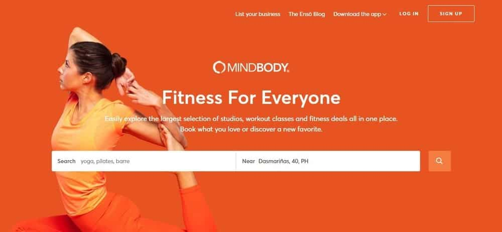 Screenshot of the site homepage for MINDBODY scheduling software.