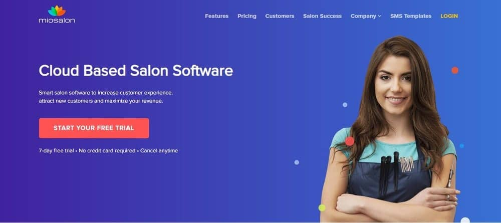 Screenshot of the site homepage for Miosalon scheduling software.