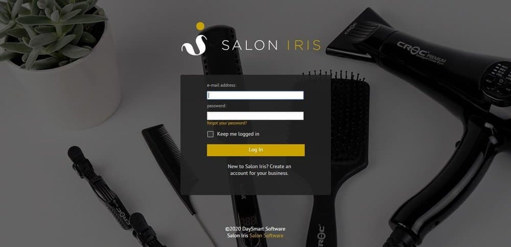 Screenshot of the site homepage for Salon Iris scheduling software.