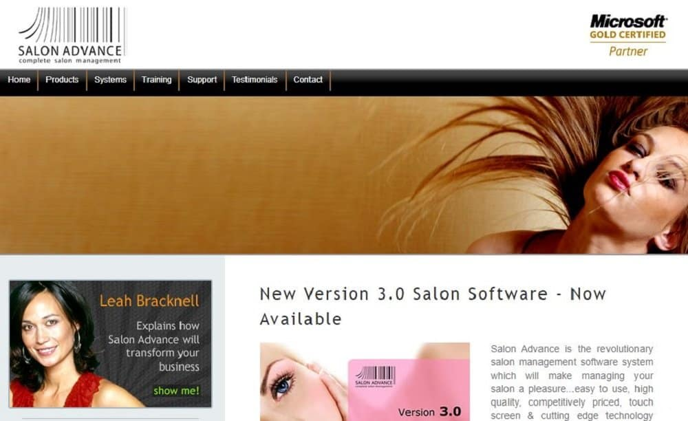 Screenshot of the site homepage for Salon Advance salon and spa software.
