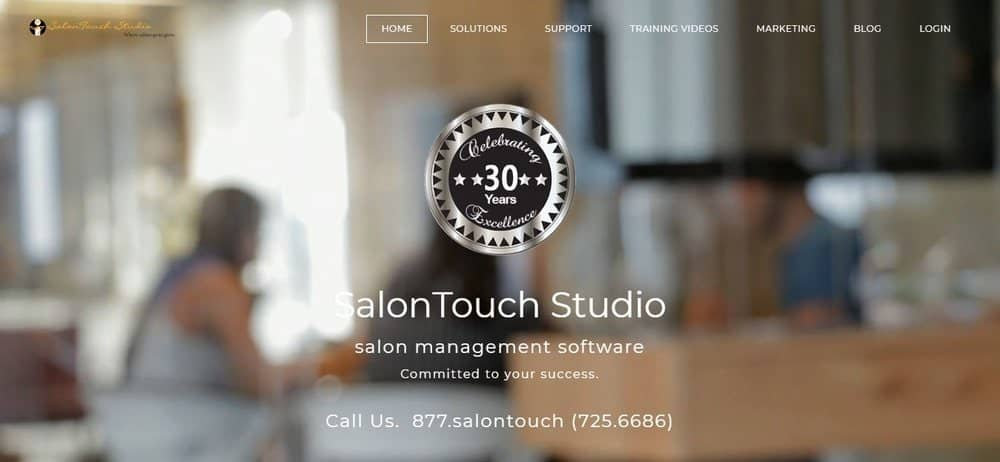 Screenshot of salontouch salon management software homepage