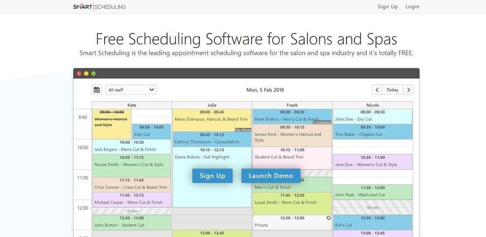 Screenshot of the site homepage for Smart Scheduling software.