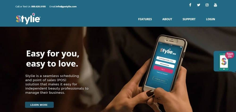 Screenshot of the site homepage for Stylie One scheduling software.