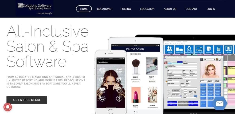 Screenshot of the site homepage for Transcend salon and spa software.