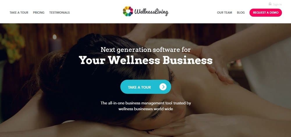 Screenshot of the site homepage for Wellnessliving scheduling software.