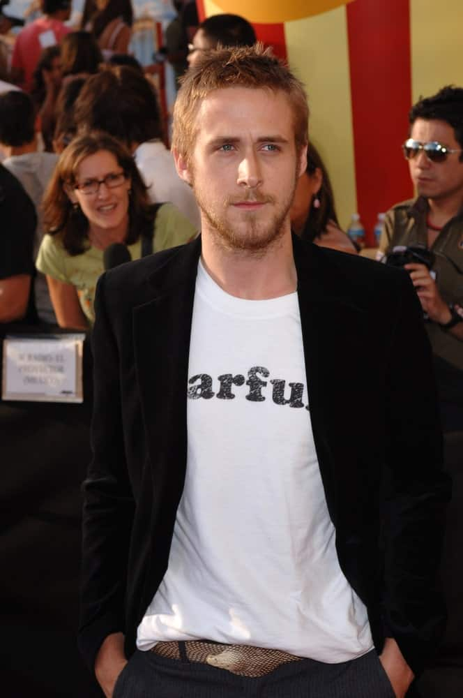 Actor Ryan Gosling wore a smart casual outfit and snakeskin belt with his spiky crew cut hairstyle at the 2005 MTV Movie Awards at the Shrine Auditorium on June 4, 2005 in Los Angeles, CA.