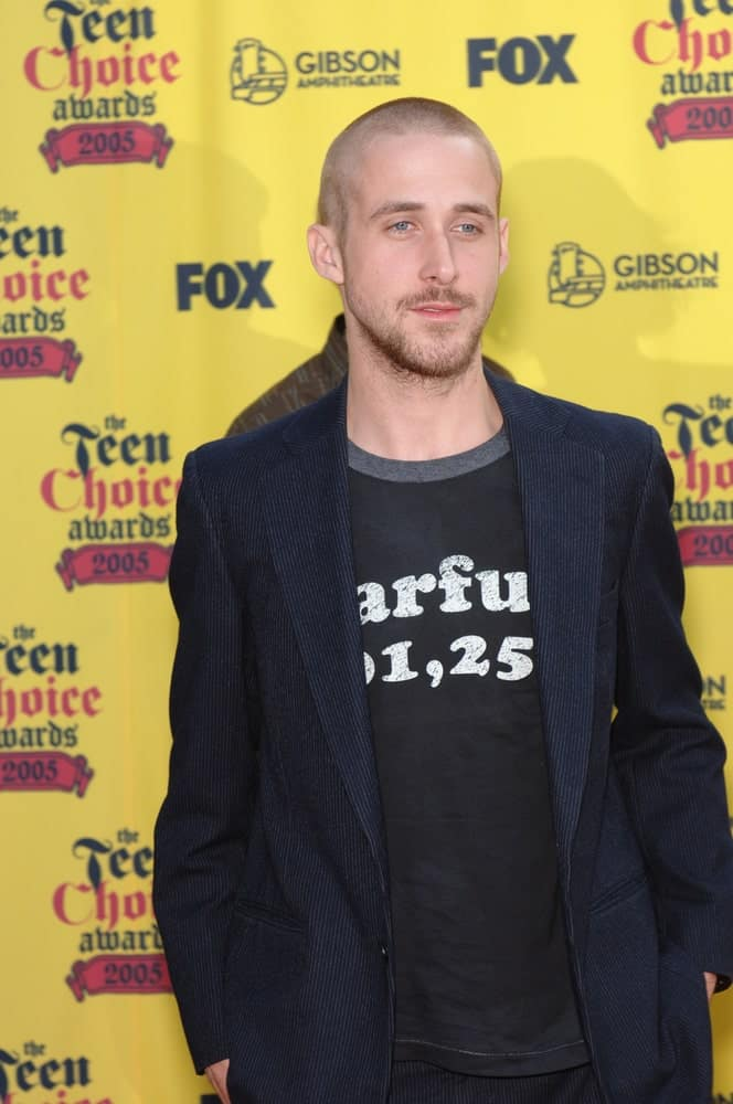 A gaunt Ryan Gosling had a shaved head at the 2005 Teen Choice Awards held at the Universal Amphitheatre in Hollywood on August 14, 2005.