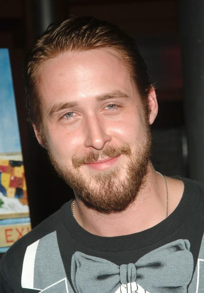 Ryan Gosling wore a casual shirt with a slicked back dark hairstyle and full beard at the HALF NELSON Premiere held at the Tribeca Cinemas in New York on August 02, 2006.
