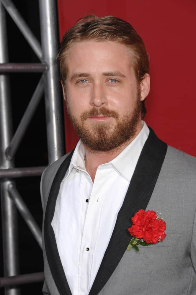 Ryan Gosling's thick and scruffy full beard is a nice complement to his slick side-parted hairstyle at the Los Angeles premiere of his new movie