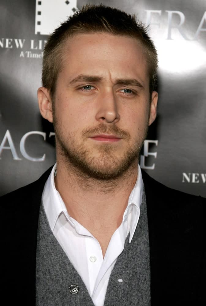 Ryan Gosling wore a spiky crew cut with his smart casual outfit when he attended the Los Angeles Premiere of Fracture held at the Mann Village Theater in Westwood, California on April 11, 2007.