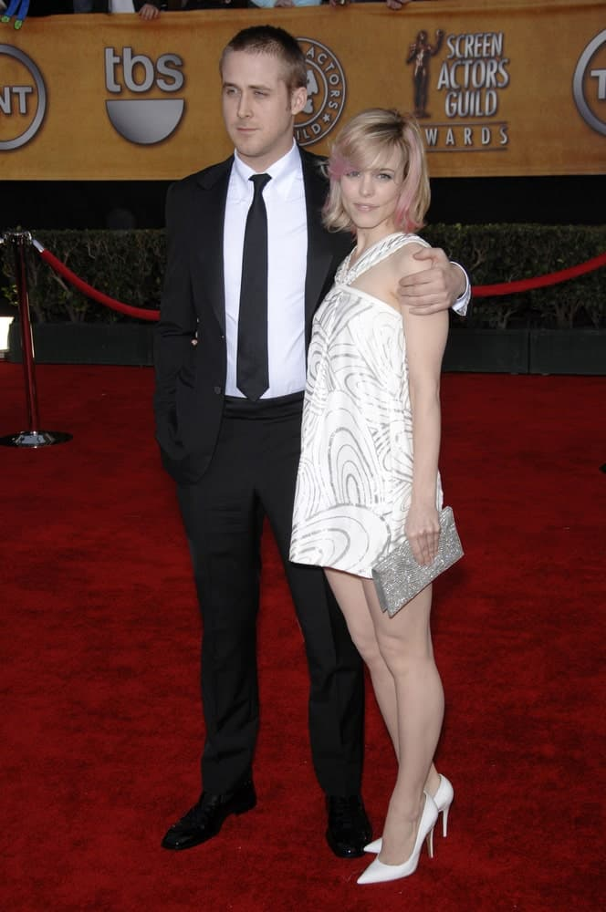 Rachel McAdams and Ryan Gosling were at the 13th Annual Screen Actors Guild Awards at the Shrine Auditorium on January 28, 2007. Gosling paired his classic black suit with his short buzz cut hairstyle.