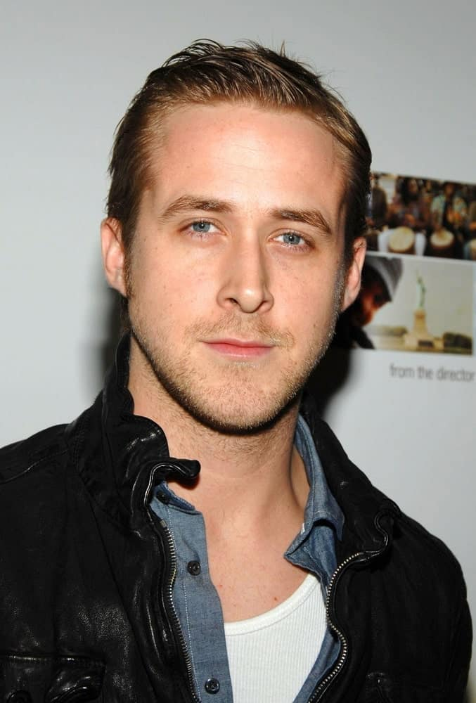 Ryan Gosling wore an edgy black leather jacket with his slick pompadour hairstyle and five o'clock shadow at THE VISITOR Premiere, MoMA - The Museum of Modern Art in New York on April 01, 2008.