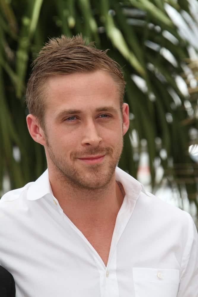 Actor Ryan Gosling paired his white button-down shirt with a short slightly spiked hairstyle at the 'Blue Valentine' Photo Call held at the Palais des Festivals during the 63rd Cannes Film Festival on May 18, 2010 in Cannes, France.
