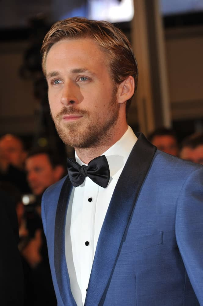 The ever classy Ryan Gosling wore a blue tux with his slick side-parted hairstyle at the premiere of his new movie