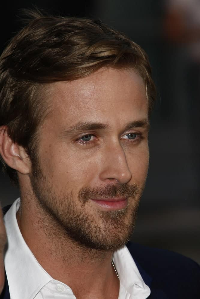 Ryan Gosling's handsome features are emphasized by his side-parted dark hairstyle at the 'Drive' premiere during the 2011 Los Angeles Film Festival at Regal Cinemas L.A. Live in Los Angeles, California on June 17, 2011.