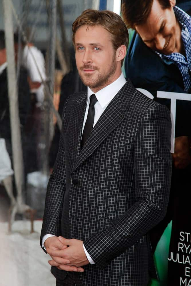 Ryan Gosling's slick side-parted fade hairstyle wowed everyone along with his patterned fashion forward suit at the world movie premiere of