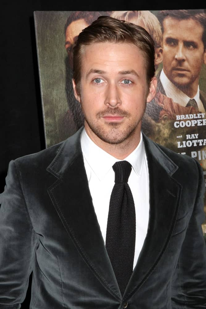 Ryan Gosling's black velvet suit was a nice complement to his trimmed beard and slick side-parted pompadour at the premiere of