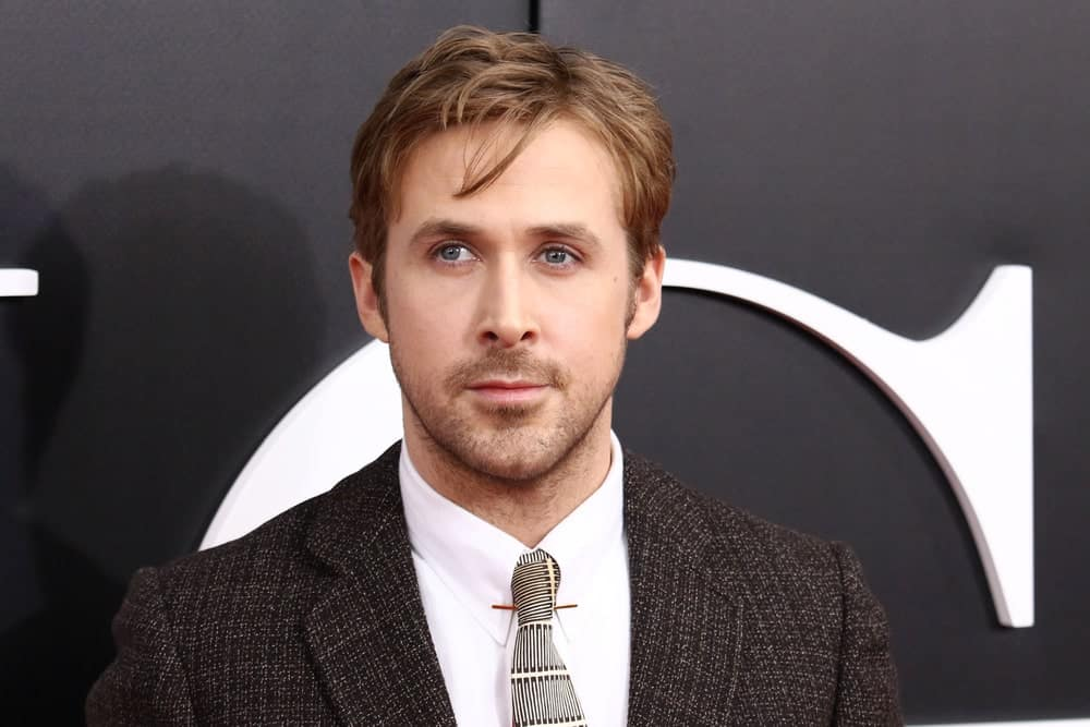 Ryan Gosling's sandy blond hair was tousled and side parted when he attended the premiere of