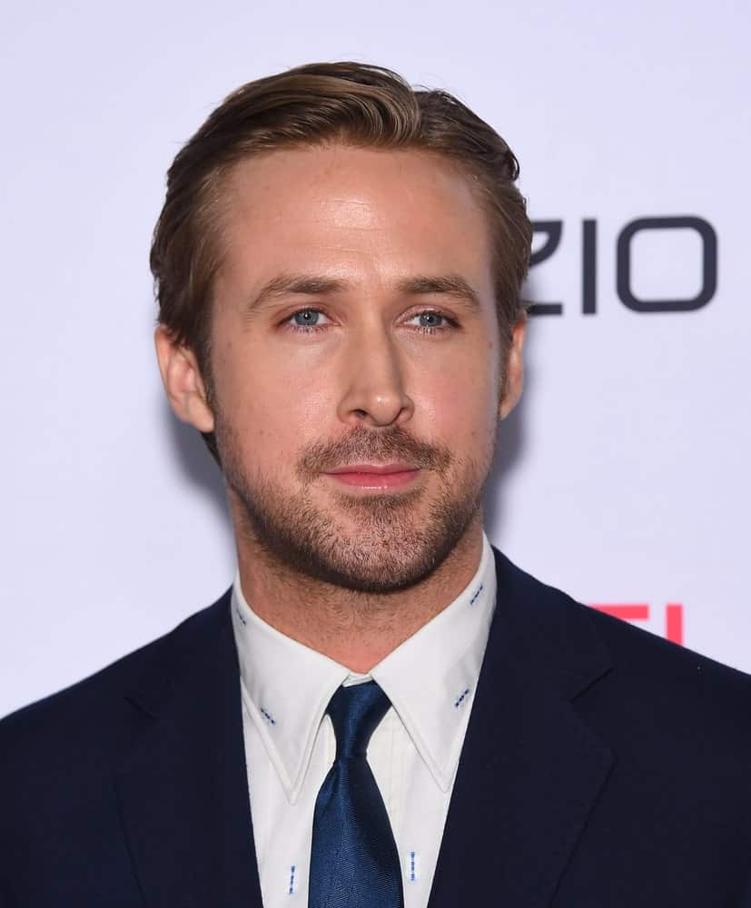 Ryan Gosling's blue eyes matches his tie and complements his side-parted slick hairstyle at the AFI Fest 2015 Closing Gala of 'The Big Short' World Premiere on November 12, 2015 in Hollywood, CA.