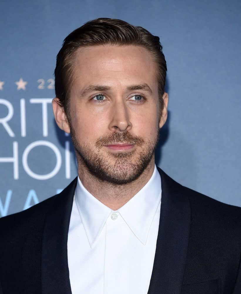 Ryan Gosling's beautiful slicked back hairstyle during the Critics' Choice Awards on December 11, 2016 held in Hollywood.
